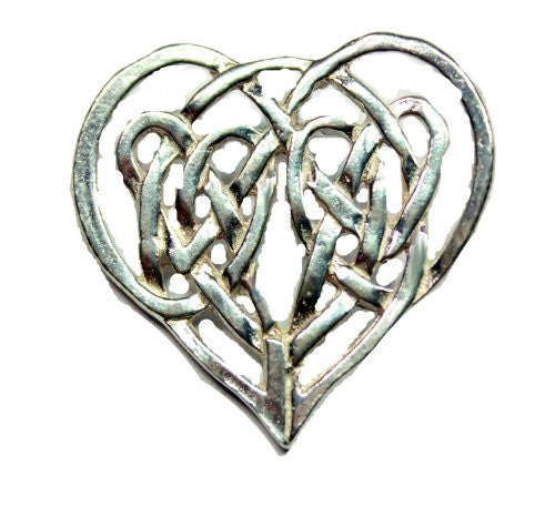 Sterling Silver Celtic Traditional Heart Shaped Love Knot Heart Brooch