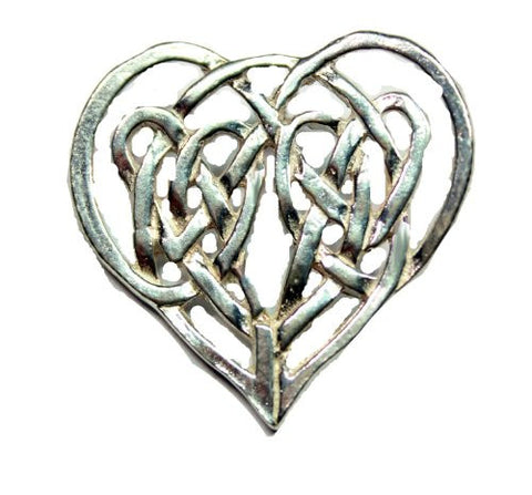 Sterling Silver Celtic Traditional Heart Shaped Love Knot Heart Pendant