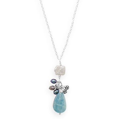 Aquamarine Charm Drop Necklace