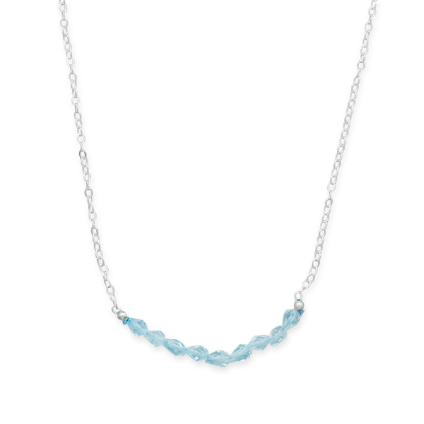 Faceted Blue Topaz and Silver December Birthstone Necklace