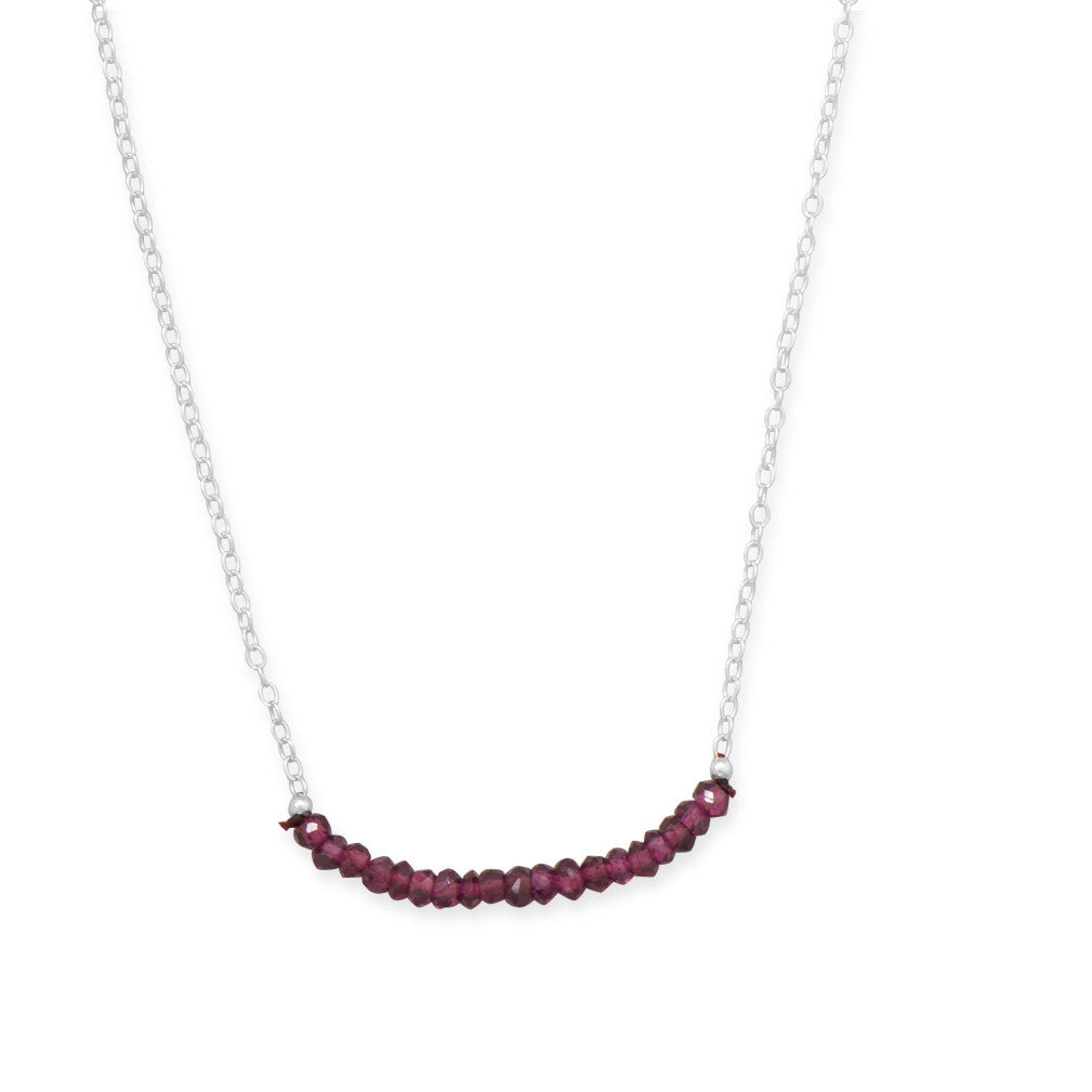 Faceted Garnet and Silver January Birthstone Necklace