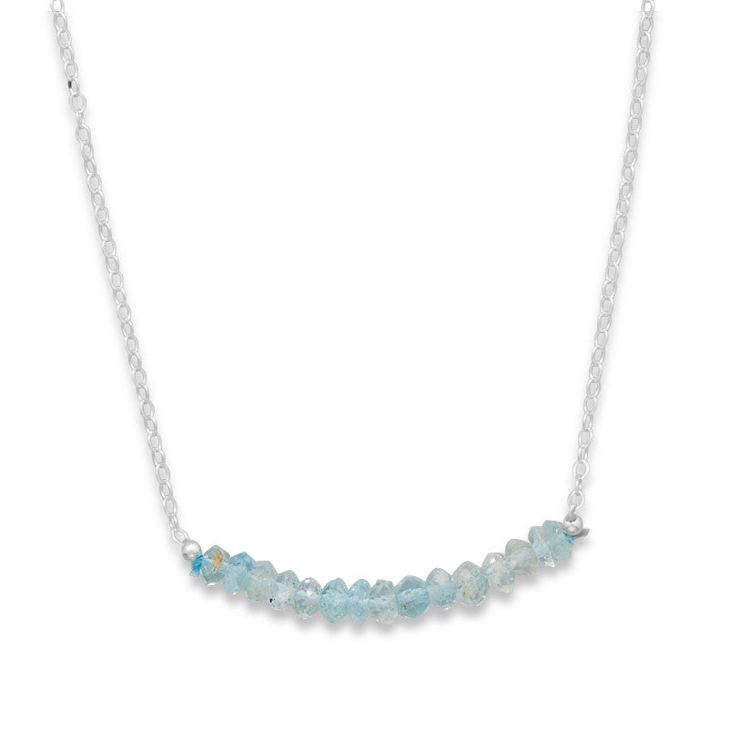 Faceted Aquamarine March Birthday Necklace