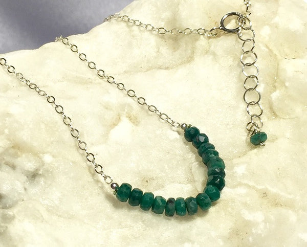 Faceted Emerald May Birthstone Necklace