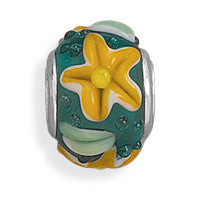 Green & Yellow Flower Story Bead