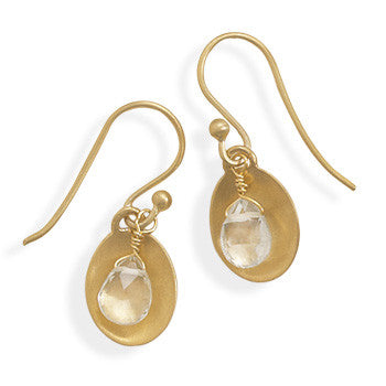 March Aquamarine Gold Plated Silver Earrings