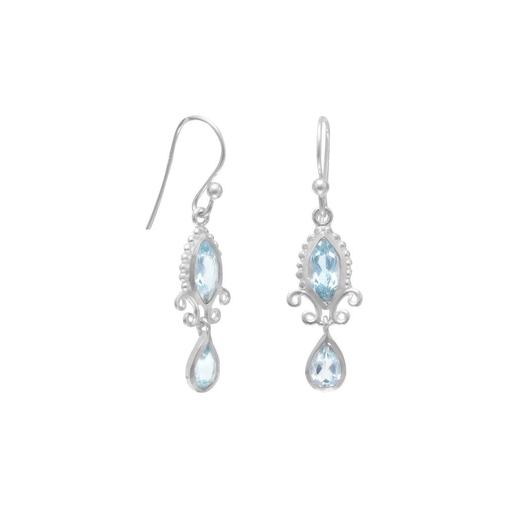 Frosty Blue Topaz Fancy Silver Earrings