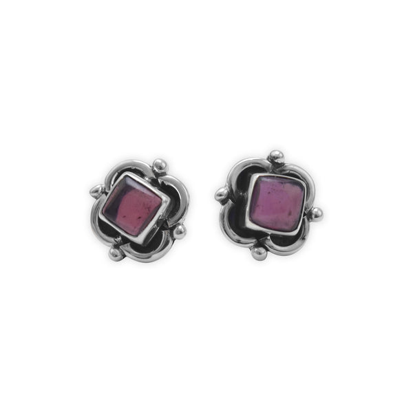 Oxidized Silver & Garnet Post Earrings
