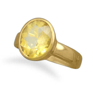 Gold Washed Sterling Silver Citrine Ring