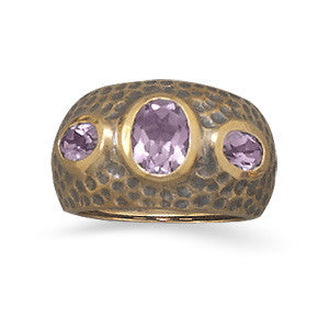 Hammered Bronze & Amethyst Ring
