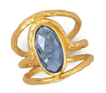 Textured Gold Plated Silver Blue Quartz Ring