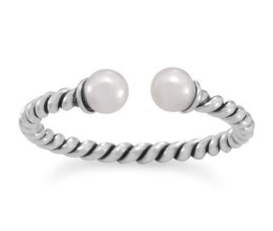 Oxidized Twist Cultured Freshwater Pearl Ring - Size Adjustable 9