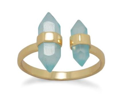 Sea Treasure 14 Karat Gold Plated Sterling Aqua Chalcedony Split Ring