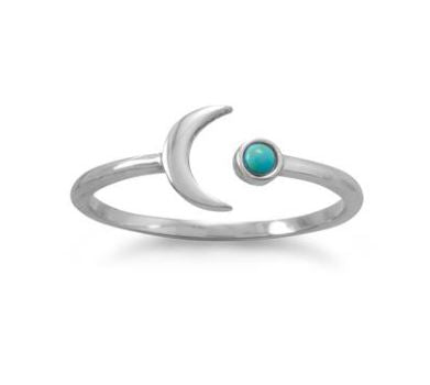 Turquoise Split Moon Ring - Adjustable Size 6