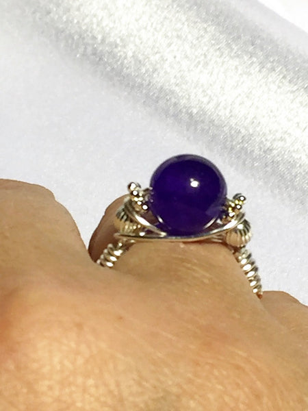 Amethyst Wire-Wrap Ring (February Birthstone)