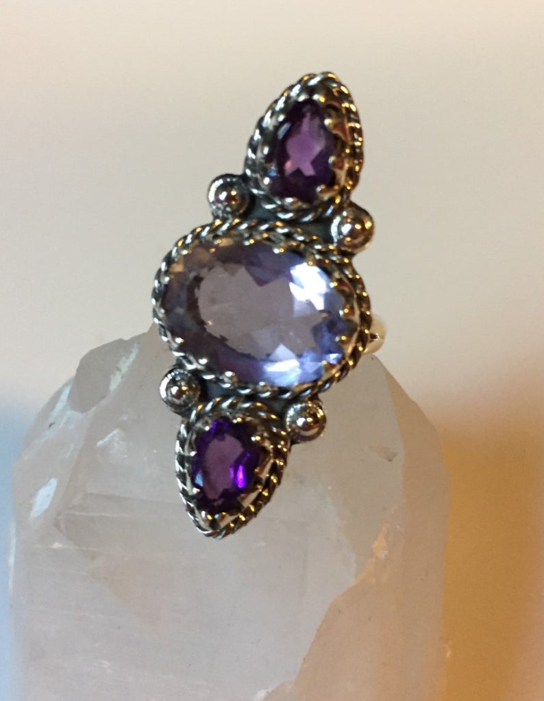 Color Changing Alexandrite & Amethyst Sterling Silver Ring Size 8