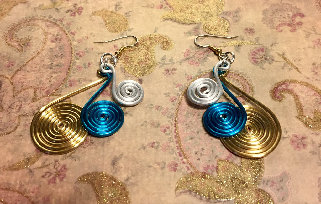 Aluminum Spiral Charm Earrings Gold, Turquoise and Silver