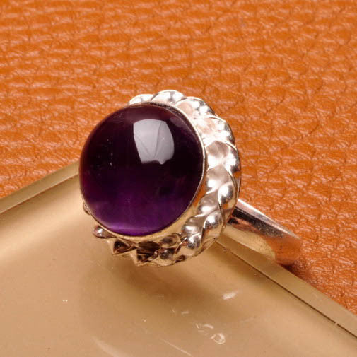 Round Amethyst Silver Plate Ring Size 9
