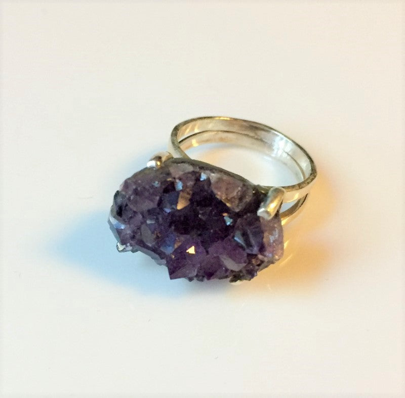 Amethyst Druzy Cluster Sterling Silver Ring Size 6