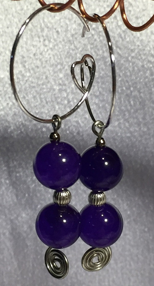 Amethyst Heart Hoops