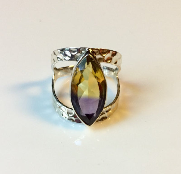 Ametrine Sterling Silver Split Hammered Band Ring Size 9.5