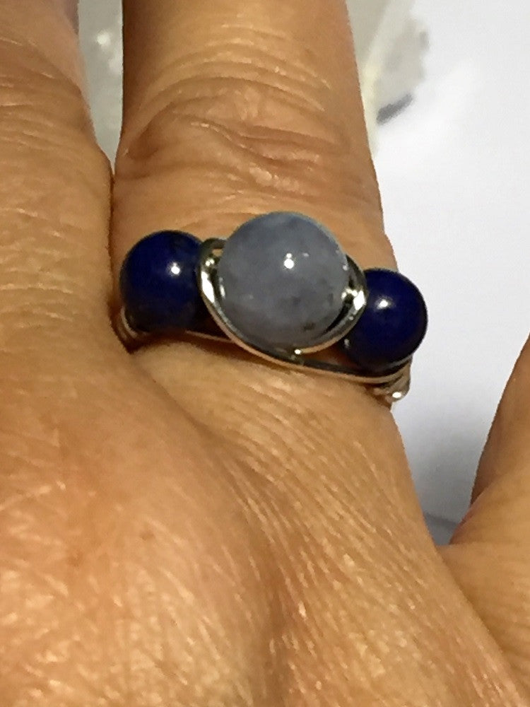 Aquamarine & Lapis Wire-Wrap Ring (March & September Birthstones)