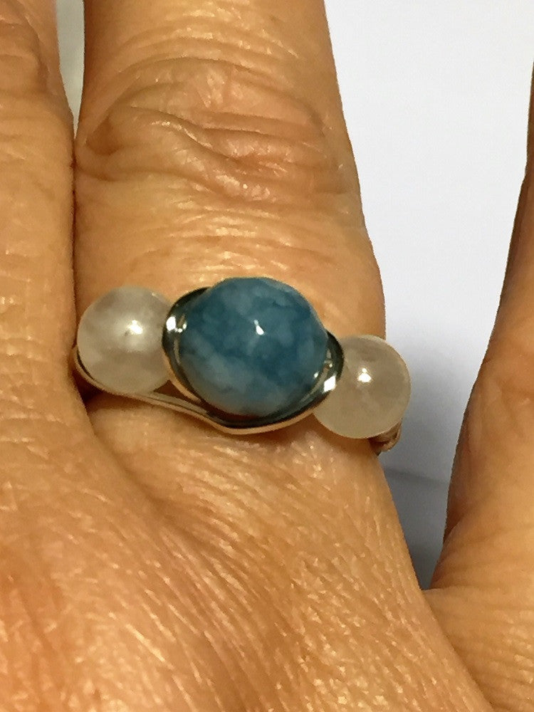 Aquamarine & Moonstone Wire-Wrap Ring (March & June Birthstones)