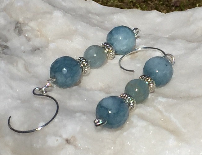 March Aquamarine Teardrop Necklace & Earring Set