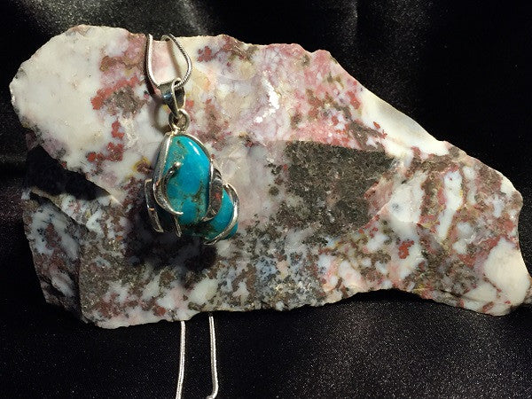 Blue Arizona Turquoise Pendant Necklace