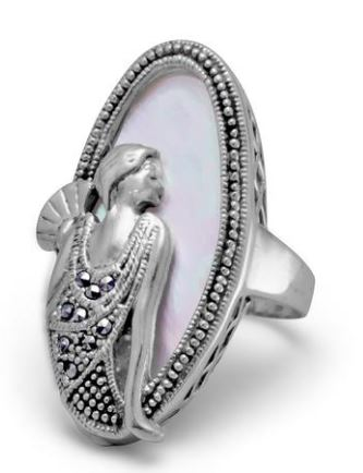 Art Deco Woman Sterling Silver Shell and Marcasite Ring
