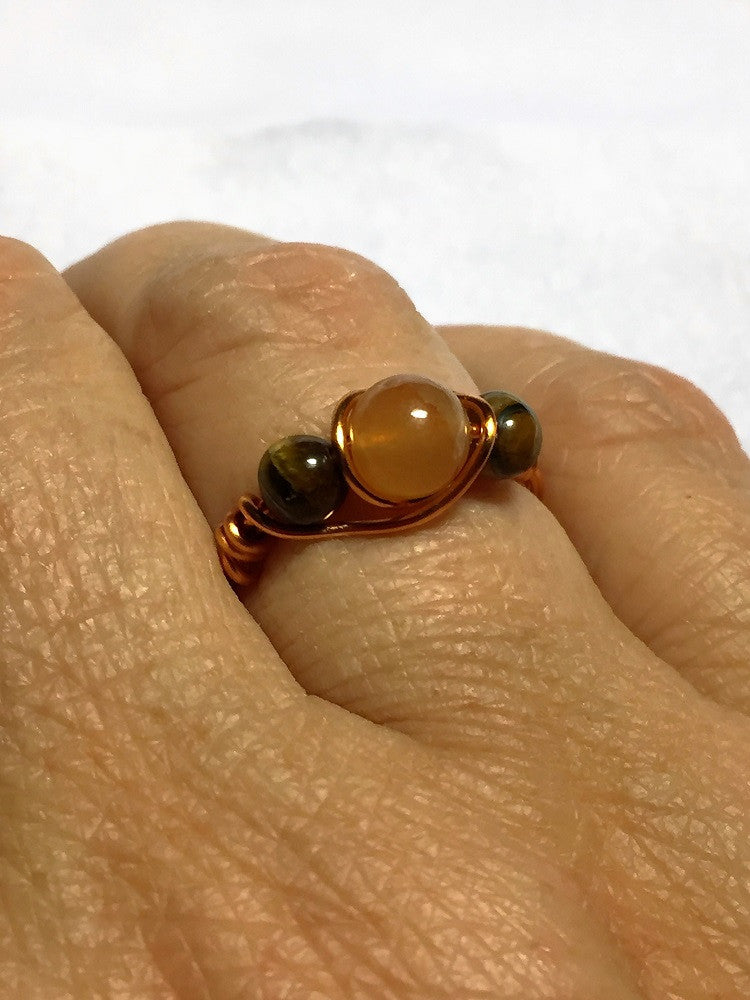 Red Aventurine & Tigers Eye Wire-Wrap Copper Ring