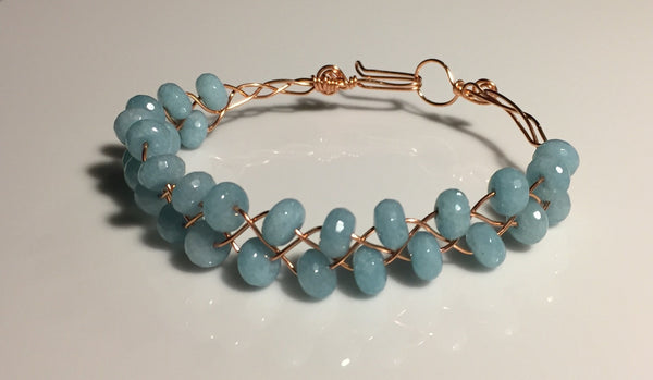 Blue Quartz Double-Row Braided Bangle