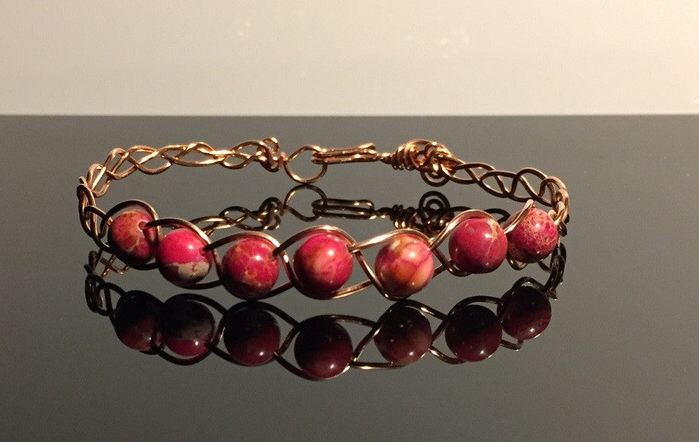 Red Turquoise Braided Bangle
