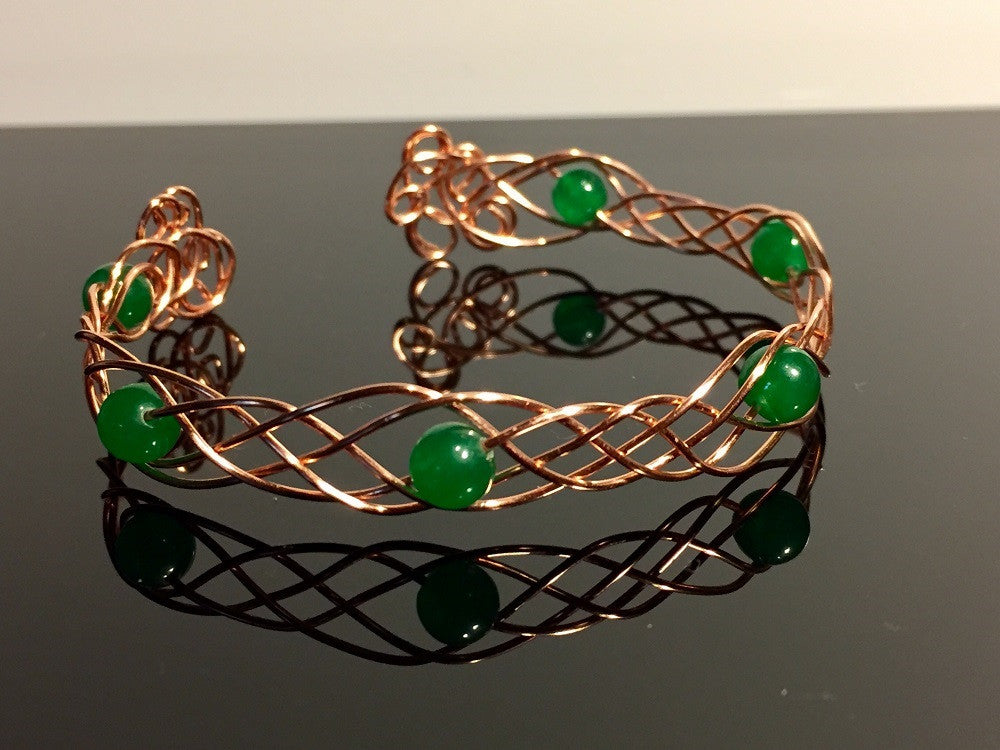 Celtic Dream Emerald Copper Cuff