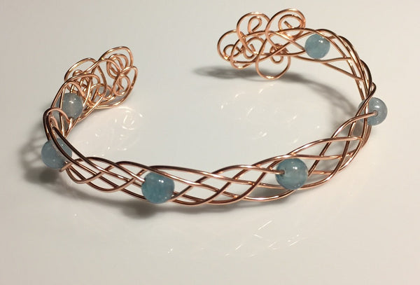 Celtic Aquamarine Copper Cuff