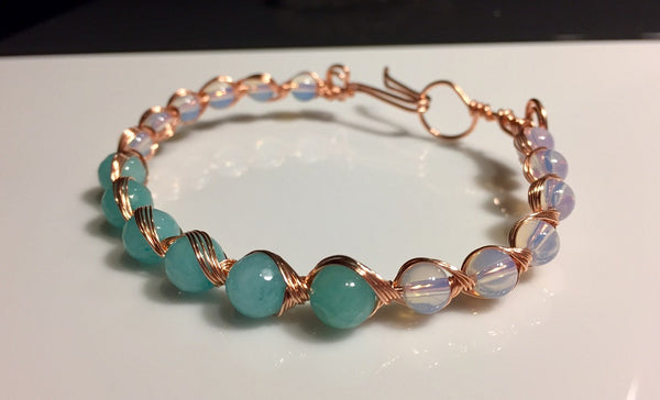 Nefertiti Pastel Bangle, Aquamarine & Opalite Wire-wrapped