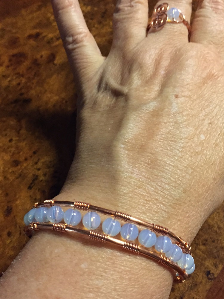 Egyptian Moon Opalite & Copper Bangle