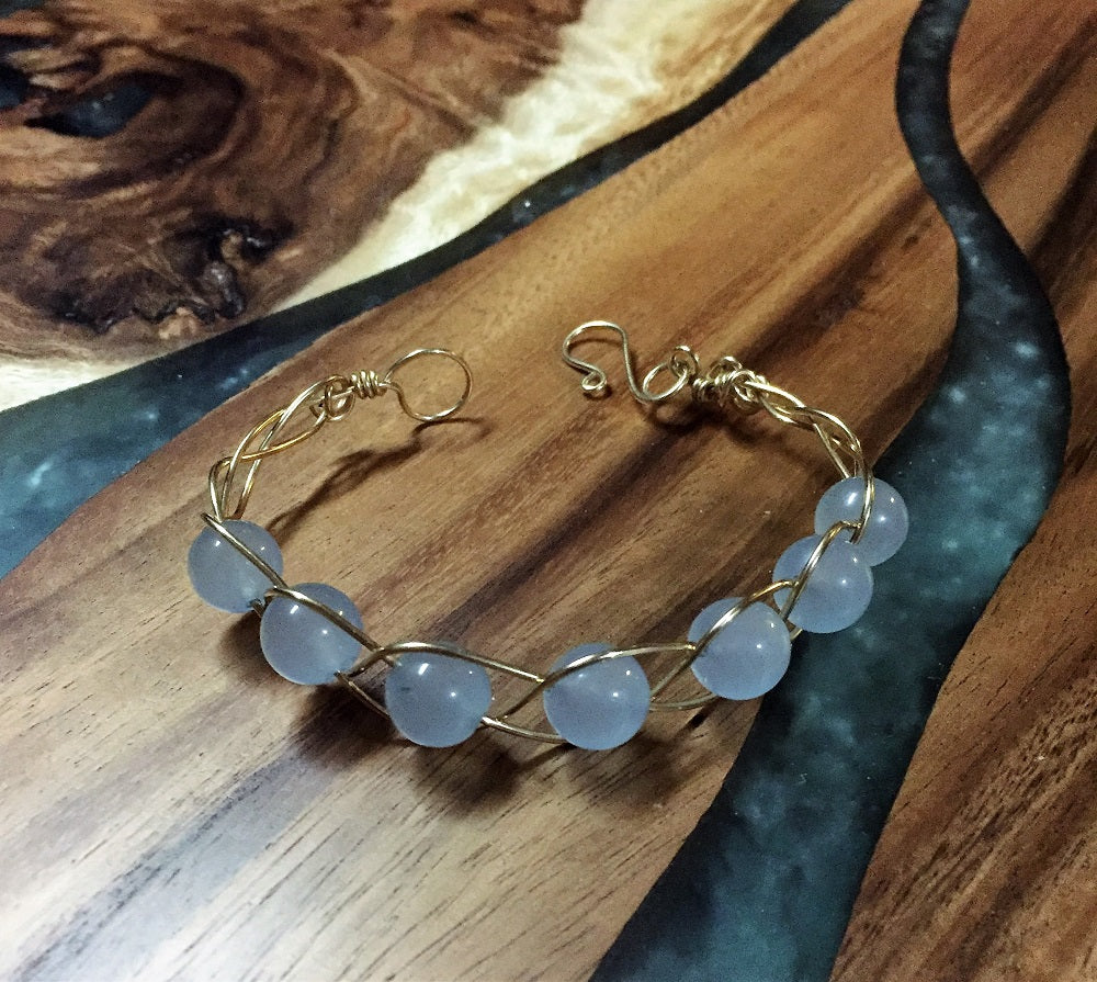 Aquamarine & Gold Braided Bracelet