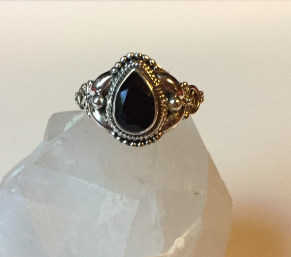 Faceted Artisan Black Onyx Ring - Size 6
