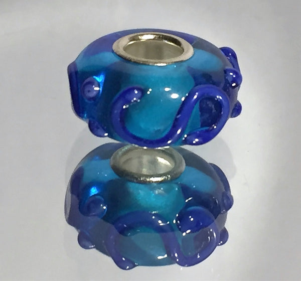 Blue Bumpy Lampwork Glass Charm Bead