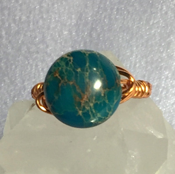 Blue Mosaic Turquoise Wire-Wrap Ring (December Birthstone)