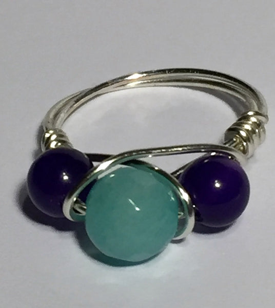 Aquamarine & Amethyst Wire-Wrap Ring (February & March Birthstones)