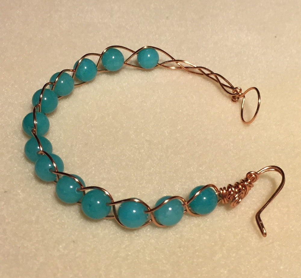 Brazilian Aquamarine Copper Bracelet