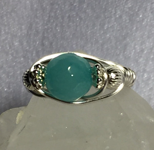 Brazilian Aquamarine Wire-Wrap Ring (March Birthstone)