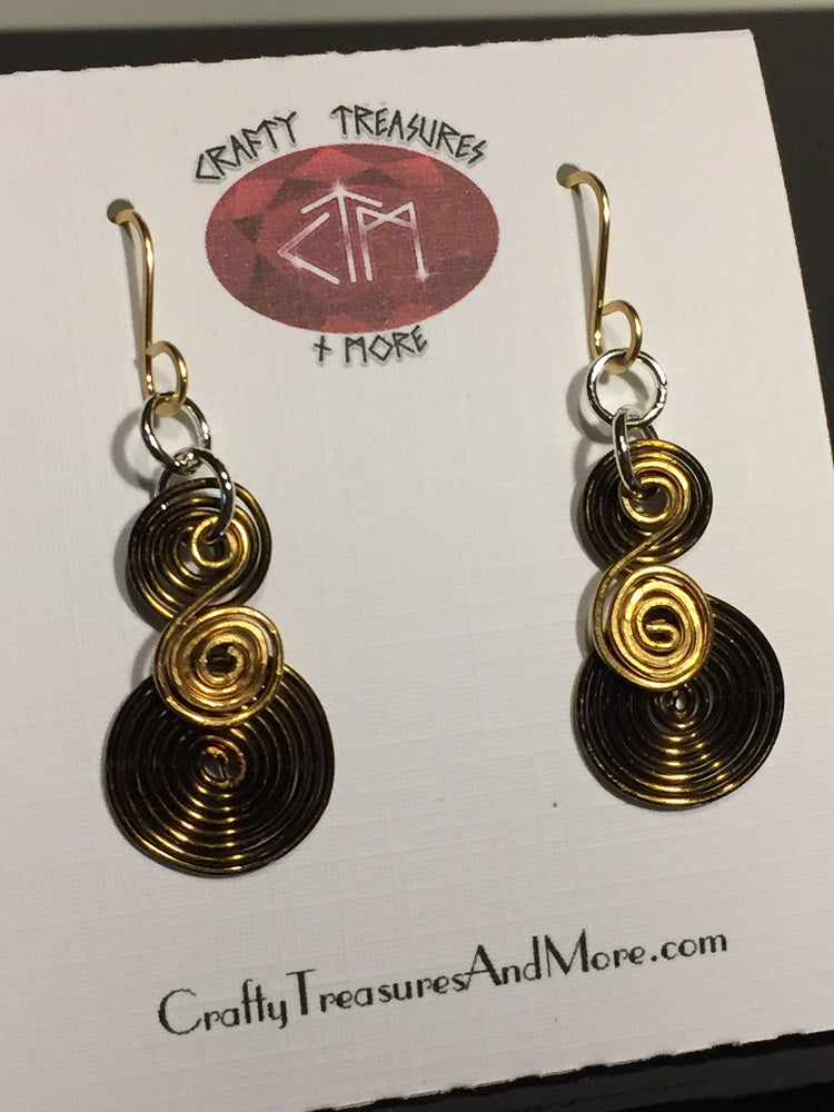 Tri-Colored Egyptian Spiral Earrings