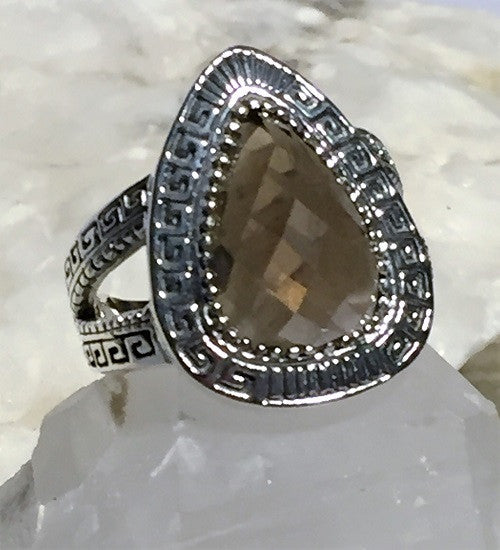 Greek Design Smoky Quartz Ring