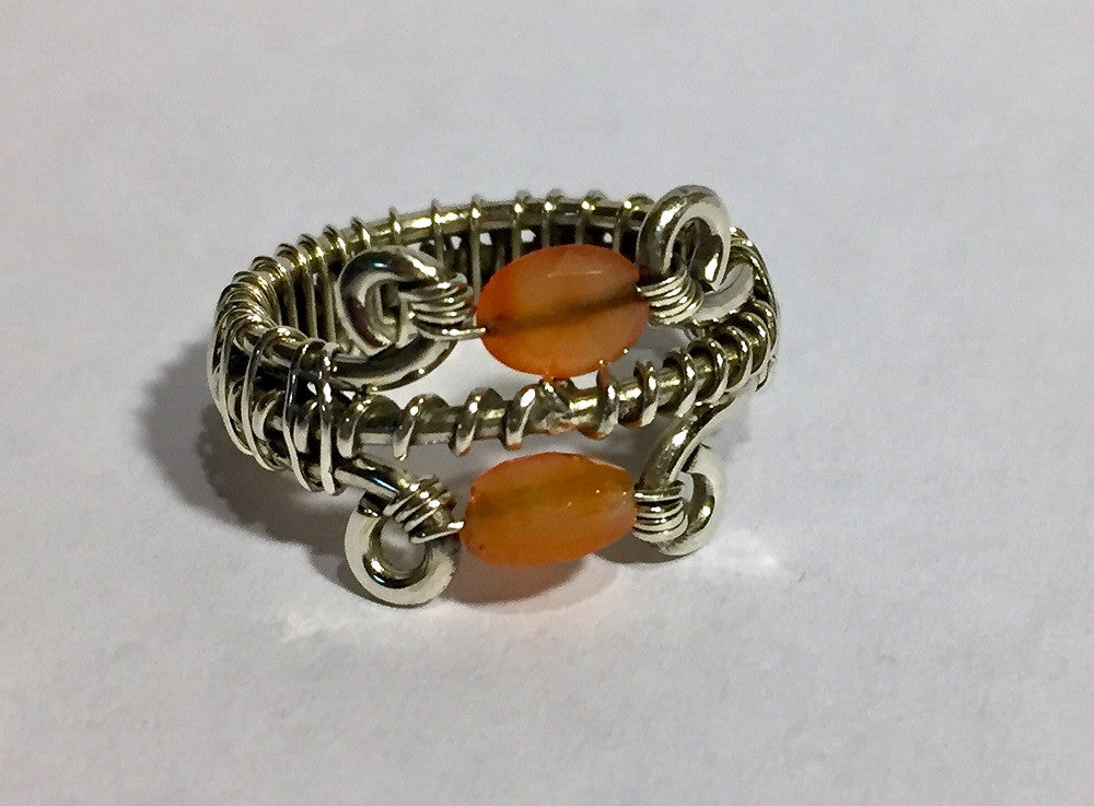 Heavy Silver Wrapped Carnelian Bead Ring - Size 8.5