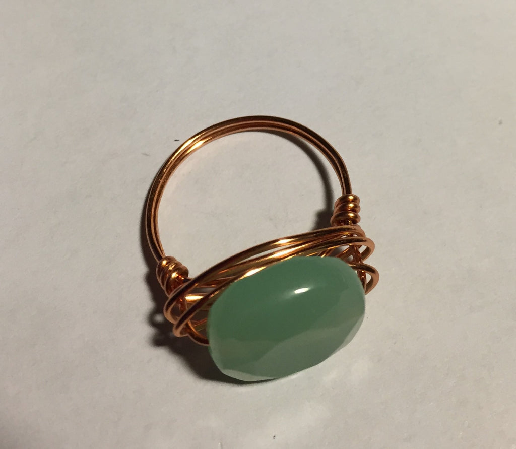 Chalcedony Coin Wire-Wrap Copper Ring