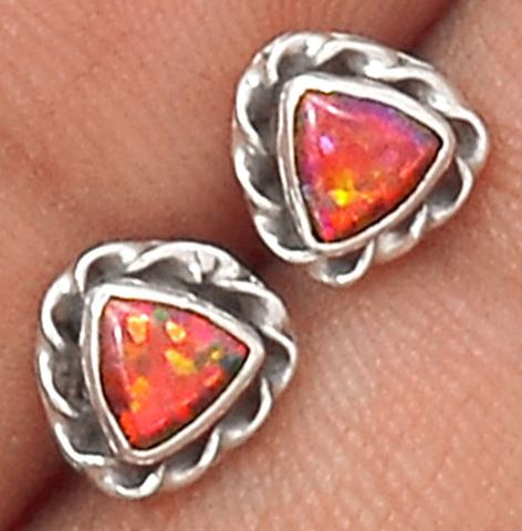 Fire Opal Sterling Silver Posts