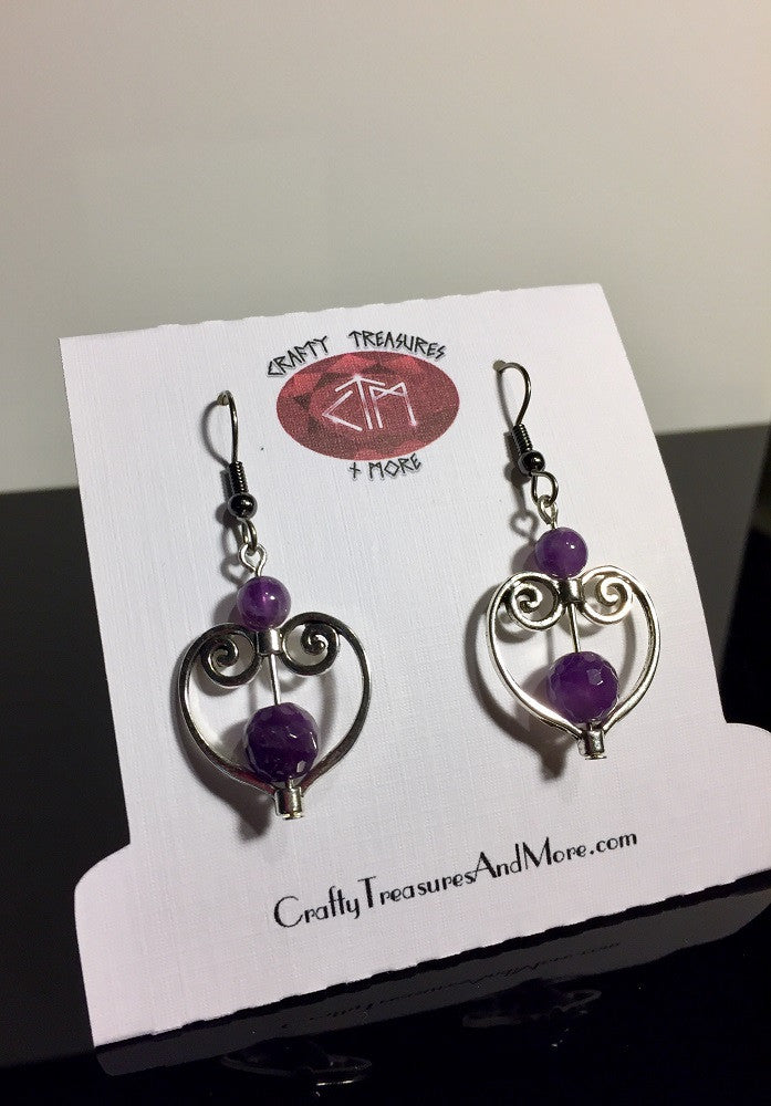 Valentine Heart Amethyst Earrings