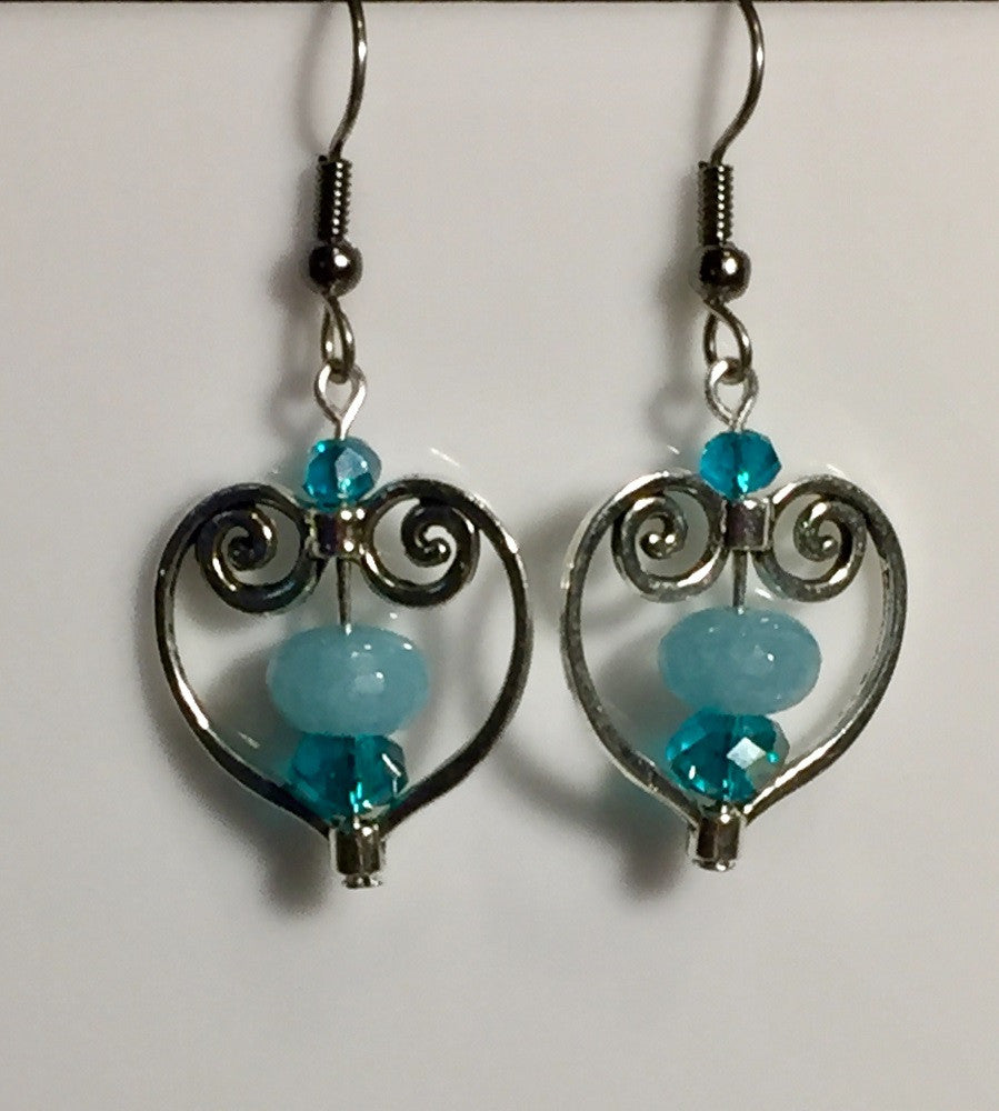 Valentine Heart Blue Quartz Earrings